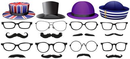 Ensemble de mode masculine avec des lunettes et des chapeaux vecteur