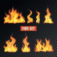 jeu d'icônes de flamme de feu réaliste illustration vectorielle vecteur