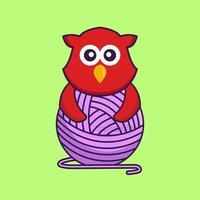 oiseau mignon jouant avec du fil de laine. vecteur