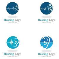 icône de vecteur de modèle de logo et de symbole d'audition
