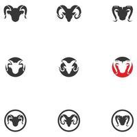 modèle d'icônes de logo vectoriel de cornes de bélier