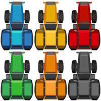Vue de dessus de tracteurs de différentes couleurs
