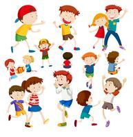 Ensemble d'enfants heureux vecteur