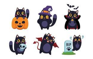 chat noir en costume d'halloween vecteur