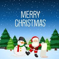Joyeux Noël avec Père Noël et bonhomme de neige vecteur