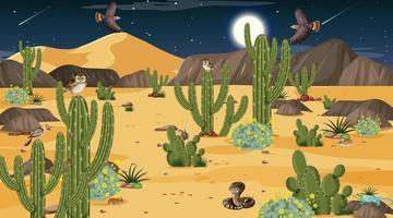 paysage de forêt désertique la nuit avec des animaux et des plantes du désert vecteur