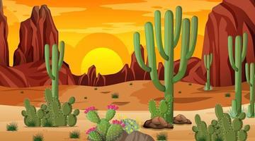 scène de paysage de forêt désertique au coucher du soleil vecteur