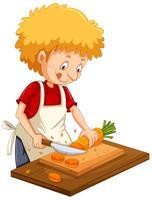 Homme, couper, carotte, sur, planche à découper vecteur