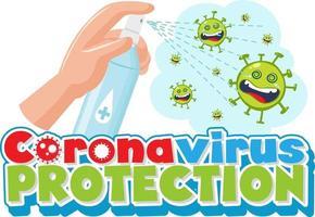 protection contre les coronavirus avec les mains à l'aide d'un spray désinfectant à l'alcool vecteur