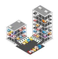 trafic transport ville parking à plusieurs étages parking garage vecteur