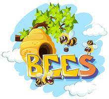 Abeilles qui volent autour de la ruche vecteur