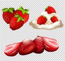 Un délicieux menu de desserts à la fraise vecteur