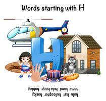 Mot français commençant par H illustration vecteur