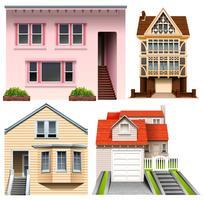Quatre modèles de maison vecteur