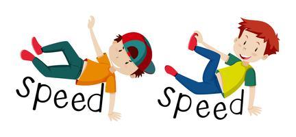 Les garçons et la vitesse des mots vecteur