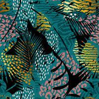 Mode modèle exotique sans couture avec des empreintes de palmiers et d'animaux