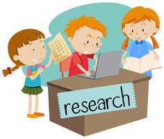 Wordcard pour la recherche avec des enfants travaillant sur ordinateur vecteur
