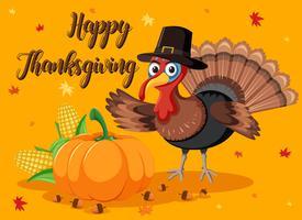 Carte de citrouille et de dinde de joyeux thanksgiving