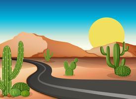 Terrain désertique avec route vide
