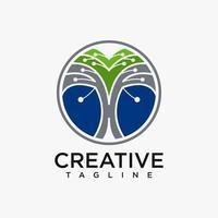 logo d'arbre avec vecteur de conception de concept de technologie gratuit