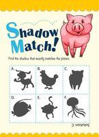 Modèle de jeu avec cochon correspondant à l'ombre vecteur