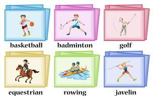 Wordcards pour de nombreux sports