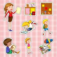 Ensemble d'autocollants avec les étudiants et l'enseignant