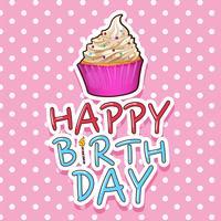 Modèle de carte pour anniversaire avec cupcake vecteur