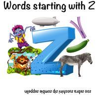 Mots français commençant par Z vecteur