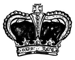 couronne royale de style gravure sur bois vecteur