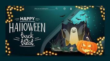 joyeux halloween, trick or treat, carte postale de voeux horizontale moderne avec beau paysage nocturne d'halloween, portail avec fantômes et citrouille jack vecteur