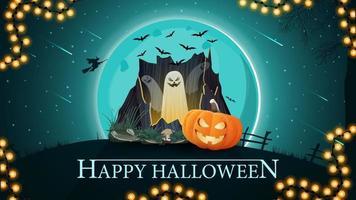 joyeux halloween, belle carte postale de voeux horizontale avec paysage d'halloween, portail avec fantômes et citrouille jack vecteur