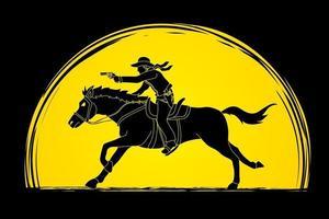 Cowboy silhouette cheval avec arme à feu vecteur