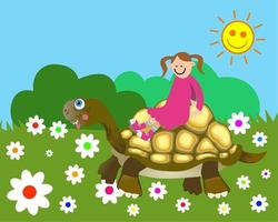 fille nature tortue heureuse vecteur