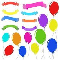 un ensemble de 8 rubans de bannière isolés de couleur plate et de 11 ballons sur des cordes. adapté à la conception. vecteur
