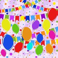 ensemble de guirlandes isolées de couleur plate et de ballons sur cordes. sur fond de confettis multicolores. adapté à la conception. vecteur
