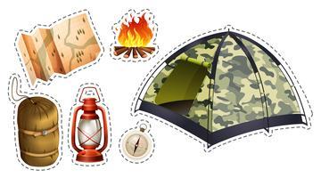 Ensemble d'autocollants de matériel de camping vecteur