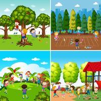 Ensemble d'enfants jouant des scènes vecteur