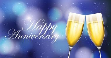 Deux verres de champagne sur carte d'anniversaire