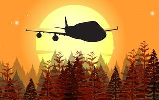 Design de fond avec avion volant au coucher du soleil vecteur