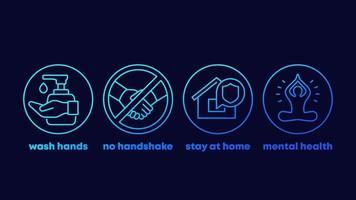 arrêtez les conseils sur les coronavirus, lavez-vous les mains, restez à la maison icônes de ligne vecteur