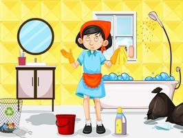 Une femme de ménage nettoie les toilettes sales vecteur