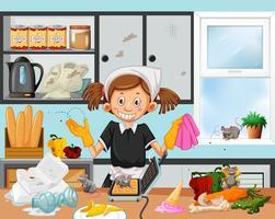 Scène de cuisine sale avec la femme de ménage vecteur
