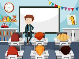 Enseignant dans sa classe vecteur