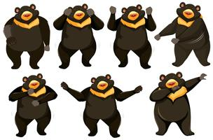 Ensemble de position de danse d'ours vecteur