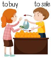 Vendeur de fruits vendant des oranges vecteur