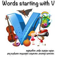 Conception d'affiche pédagogique pour les mots commençant par V vecteur