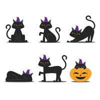 jeu de caractères de chat noir vecteur