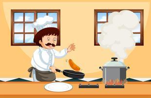 Un chef professionnel cuisinant des aliments vecteur