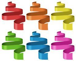 Rubans de six couleurs différentes vecteur